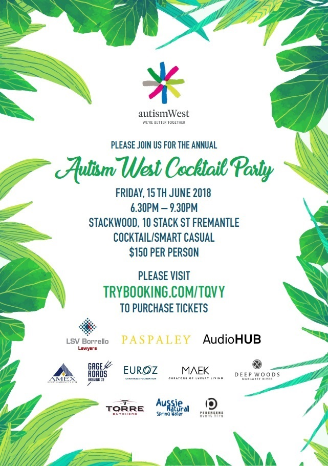 Autism West Cocktail Party Flyer